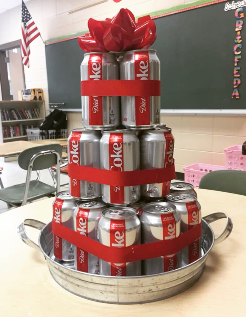cake made from Diet Coke cans was a gift from students showing my class is THE class students love