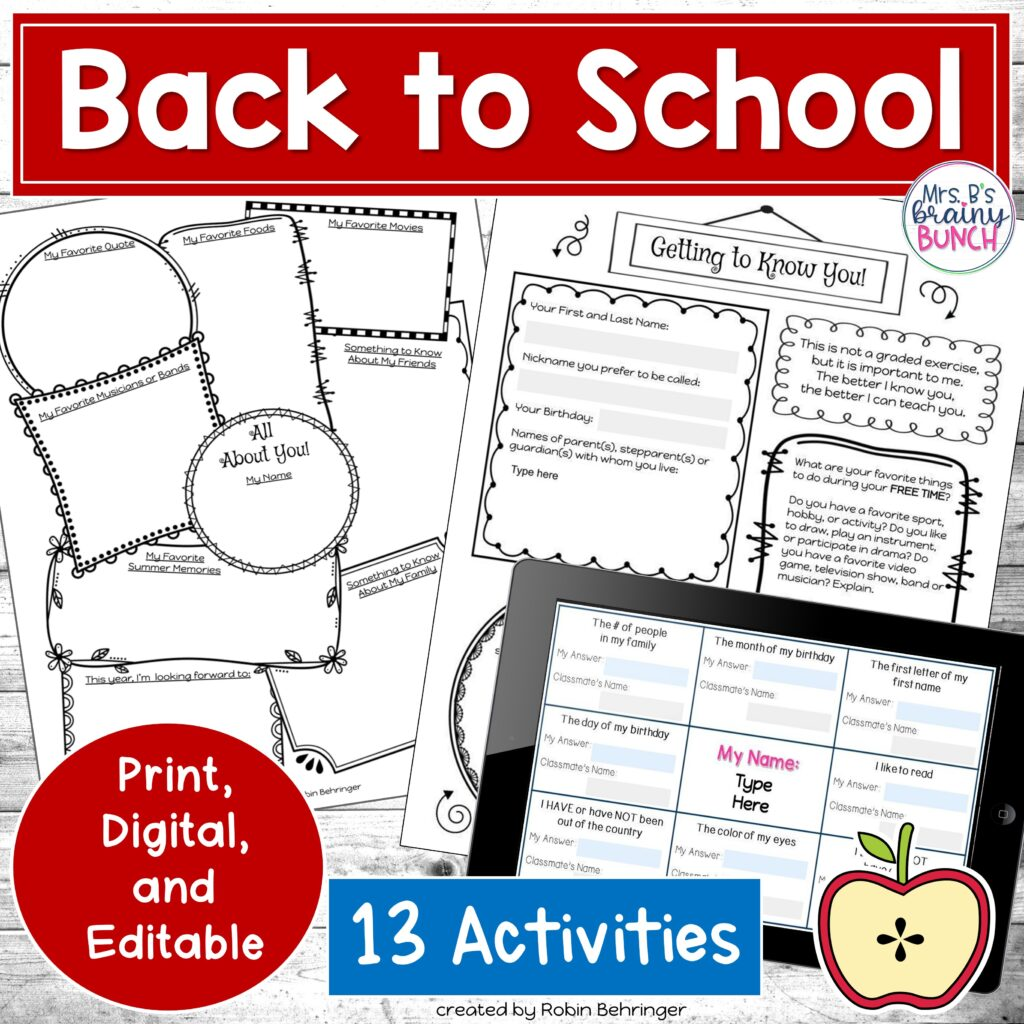 13 activities for Back to School to help build a sense of community