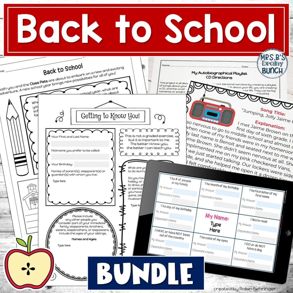 picture of my bundle of Back to School resources
