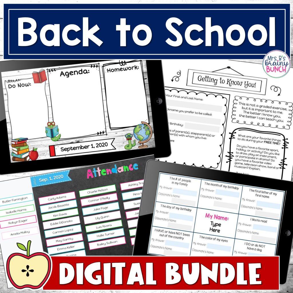 Digital Bundle of Back to School activities to help build a sense of community