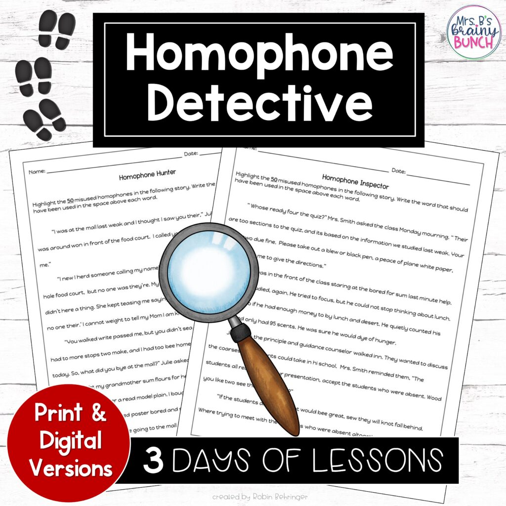 resource for students finding homophones like a detective