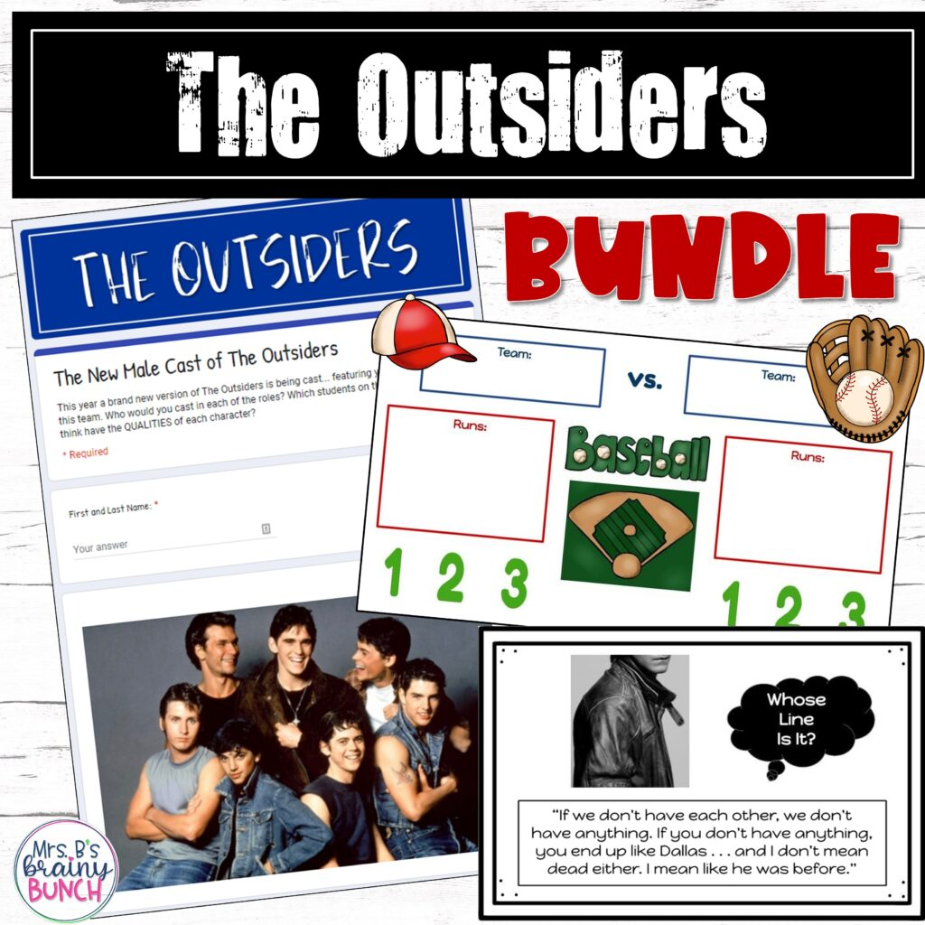 picture of my bundle of activities from The Outsiders