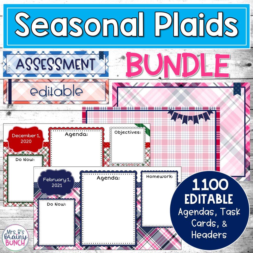 picture of my bundle of seasonal PLAID digital agendas, headers, and task cards