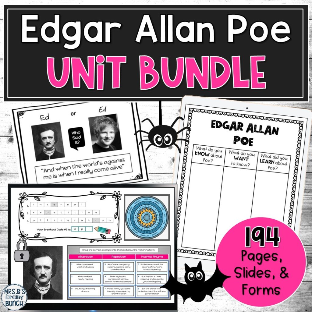 picture of my bundle of Edgar Allan Poe resources