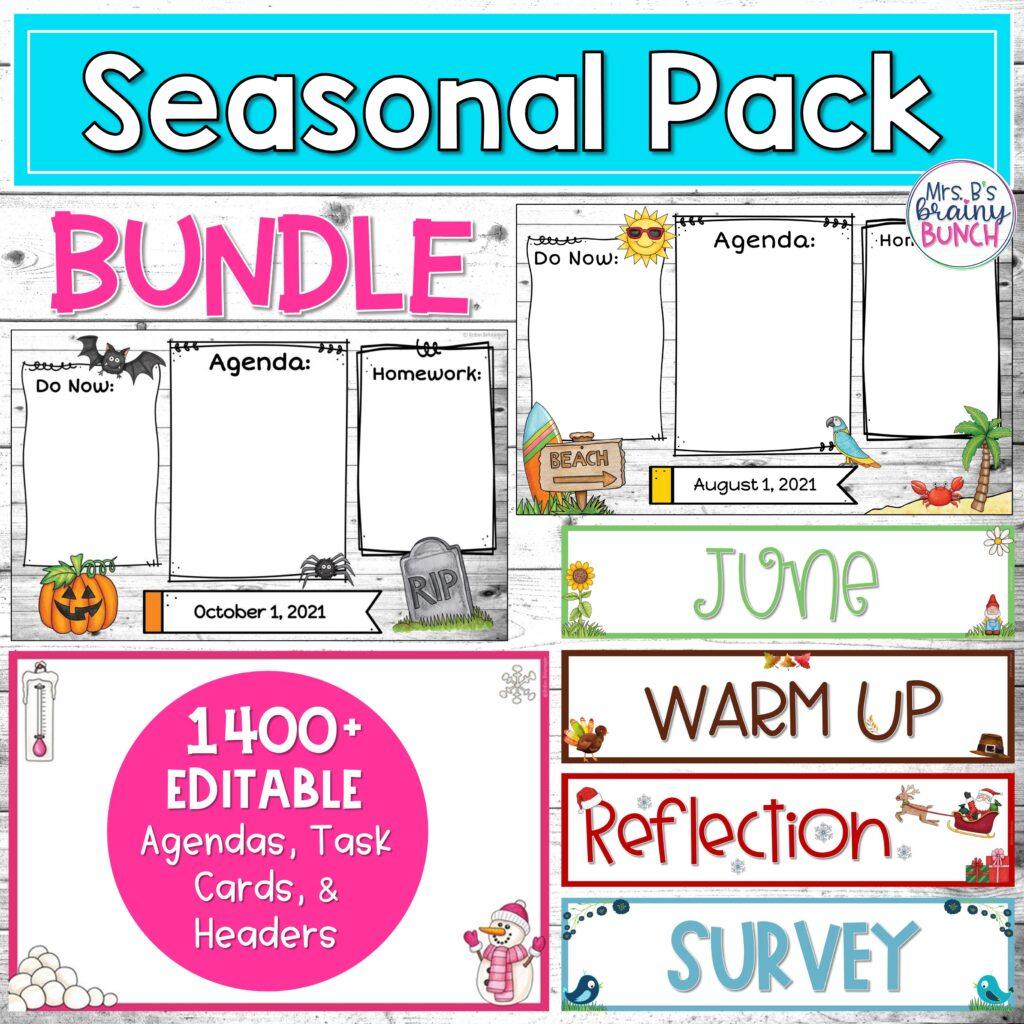 picture of my bundle of seasonal digital agendas, headers, and task cards