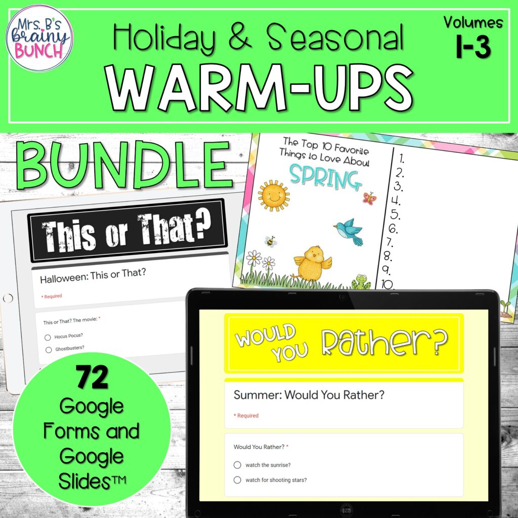 Warm-Ups for the yearly holidays and seasons