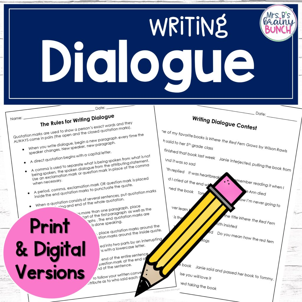 cover of my Writing Dialogue resource on increasing student engagement