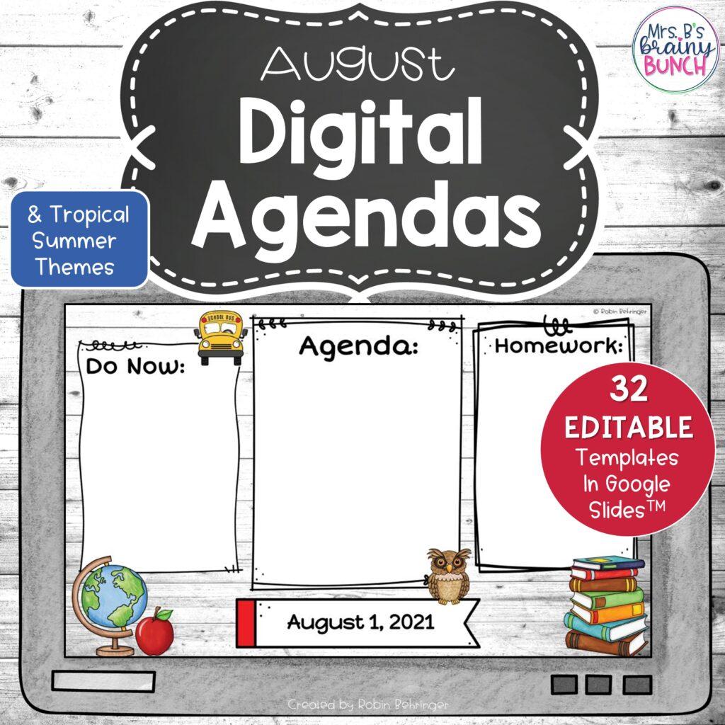 August Digital Agendas resource in my TpT store