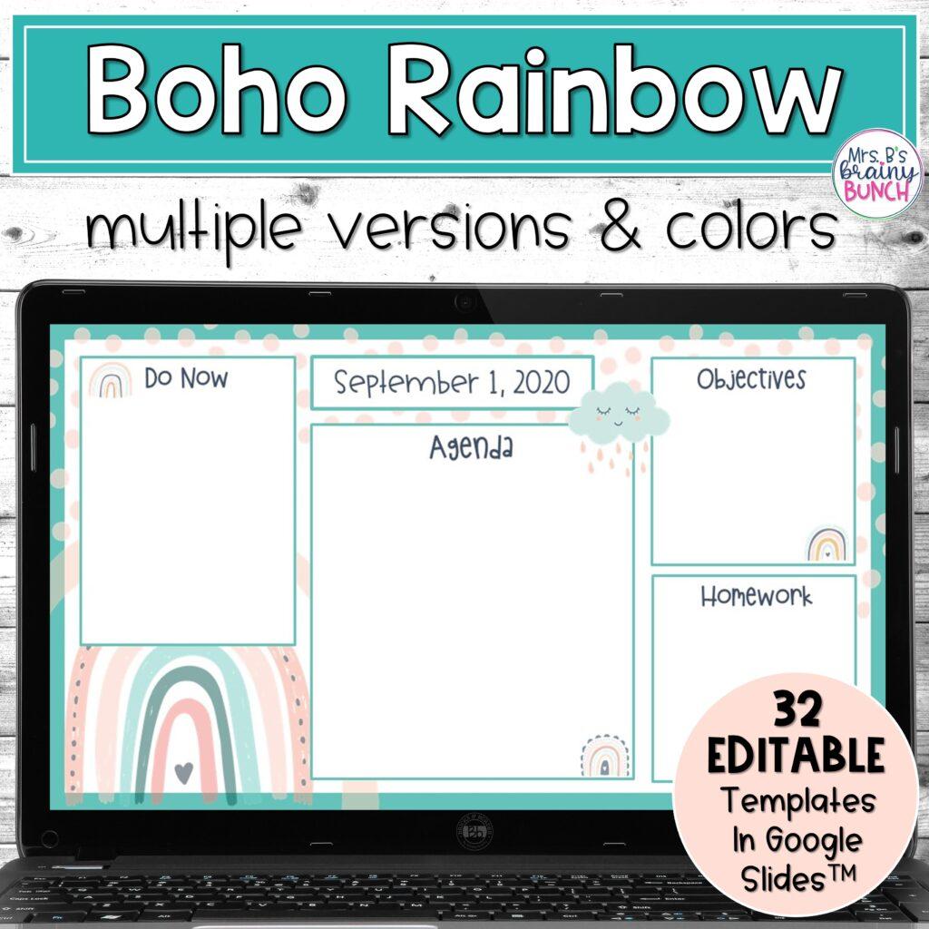 Boho Rainbow Digital Agendas resource in my TpT store