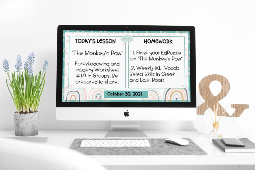 laptop with a Boho Rainbow digital daily agenda