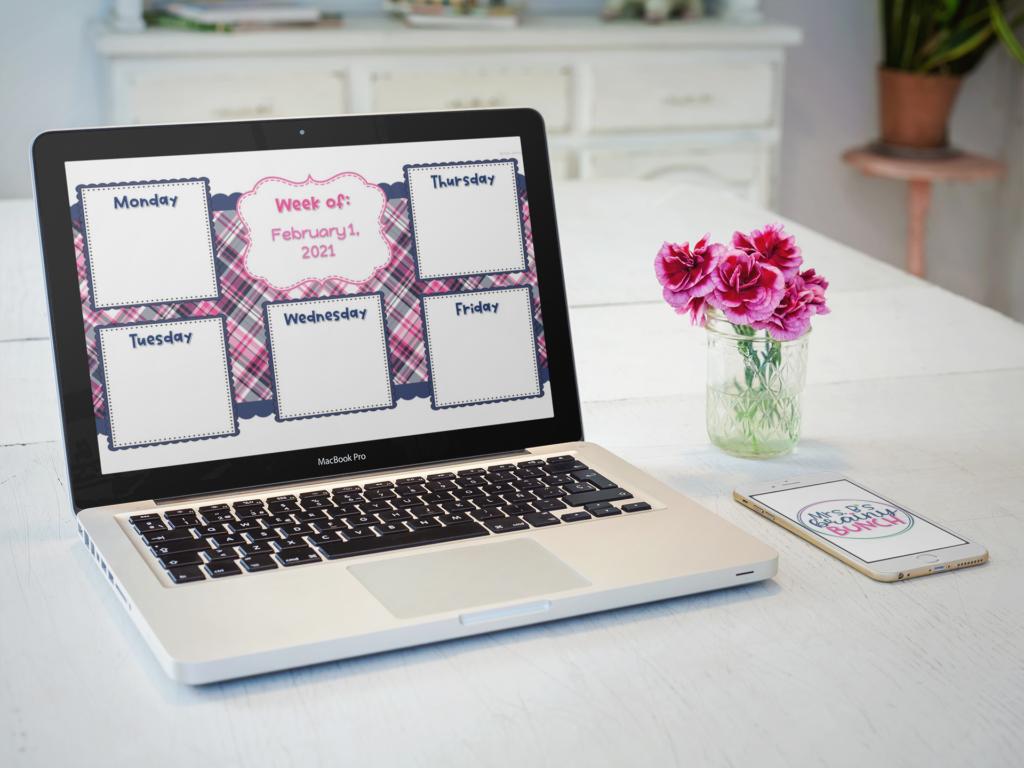 laptop with a plaid digital weekly agenda