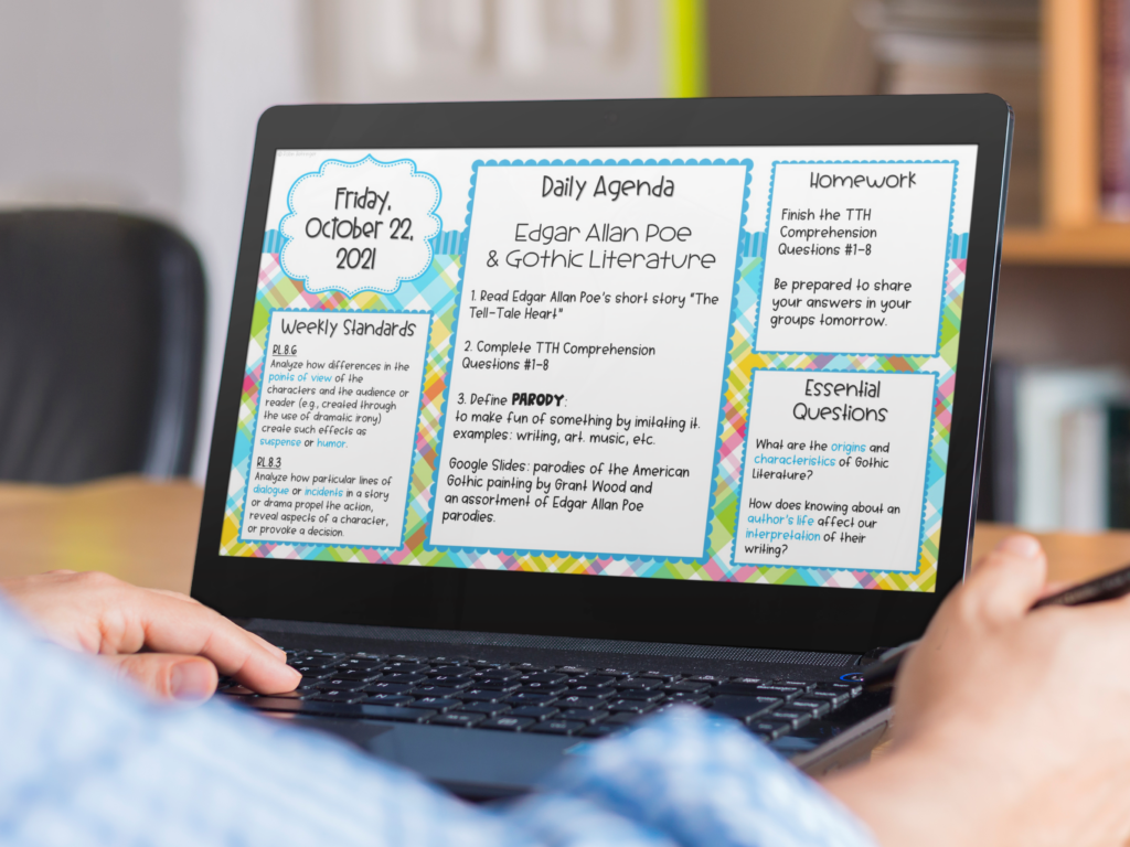 laptop with a bright plaid digital daily agenda