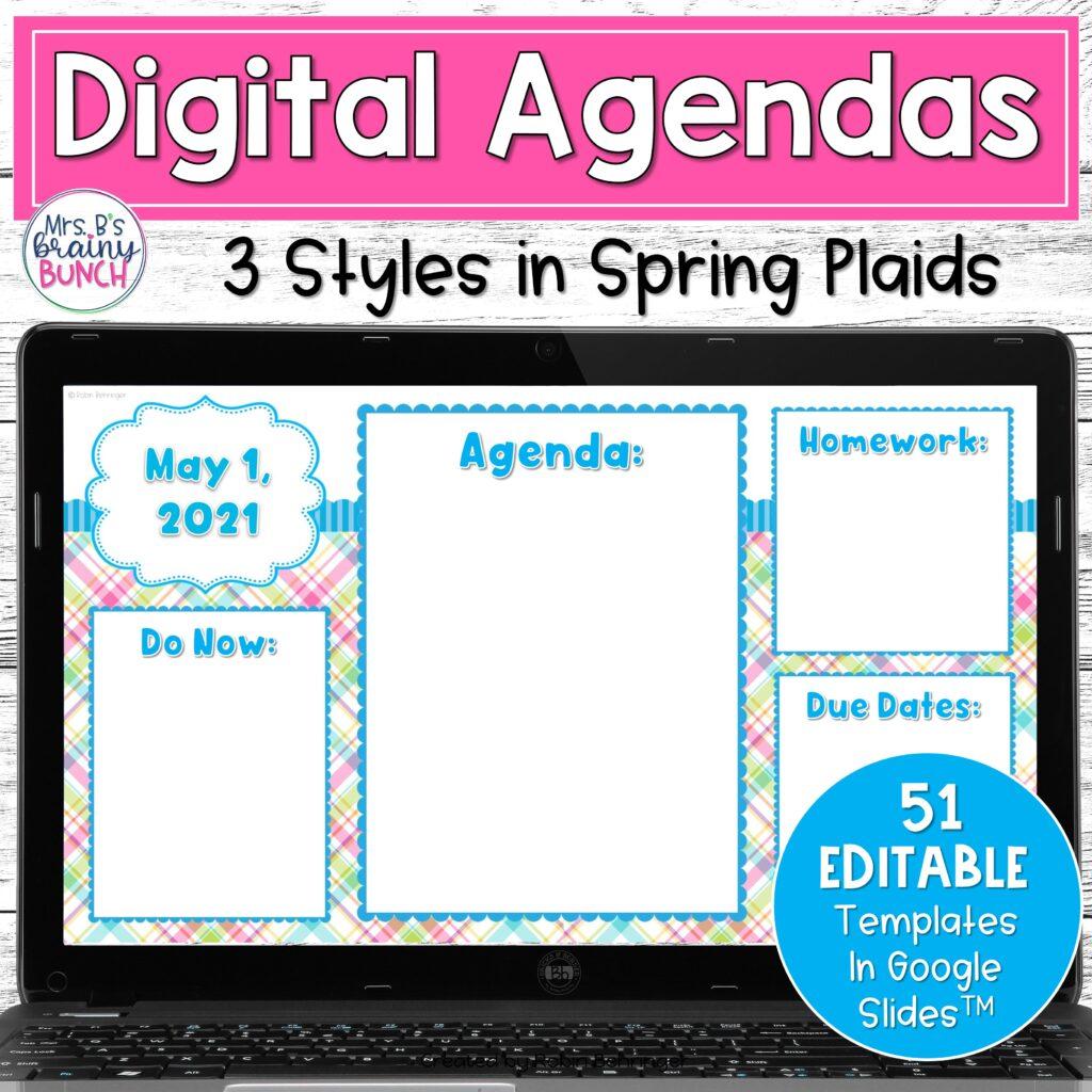 Spring Digital Agendas resource in my TpT store